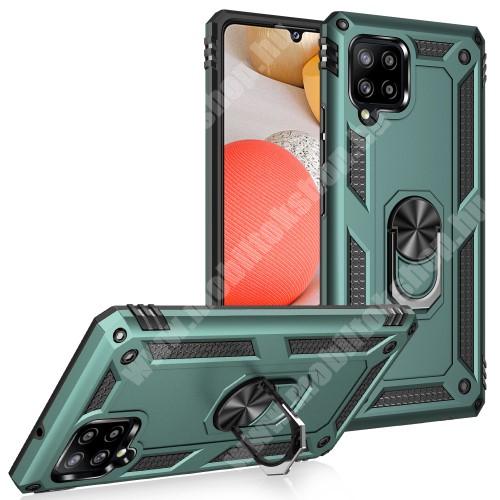 OTT! HYBRID ARMOR műanyag védő tok / hátlap - ZÖLD - szilikon betétes, kitámasztható, fém ujjgyűrűvel, tapadófelület mágneses autós tartóhoz - ERŐS VÉDELEM! - SAMSUNG Galaxy A42 5G (SM-A425F)