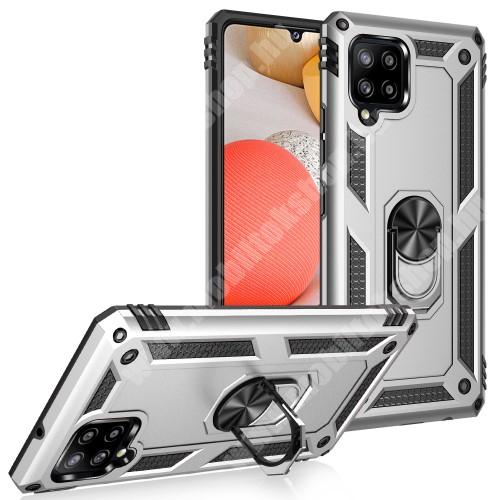 OTT! HYBRID ARMOR műanyag védő tok / hátlap - EZÜST - szilikon betétes, kitámasztható, fém ujjgyűrűvel, tapadófelület mágneses autós tartóhoz - ERŐS VÉDELEM! - SAMSUNG Galaxy A42 5G (SM-A425F)