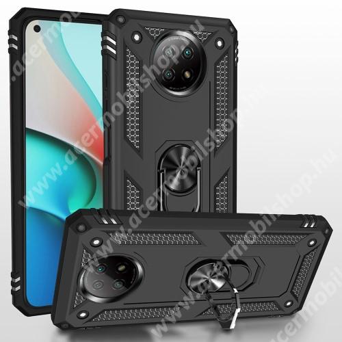 OTT! HYBRID ARMOR műanyag védő tok / hátlap - FEKETE - szilikon betétes, kitámasztható, fém ujjgyűrűvel, tapadófelület mágneses autós tartóhoz - ERŐS VÉDELEM! - Xiaomi Redmi Note 9T 5G / Redmi Note 9 5G