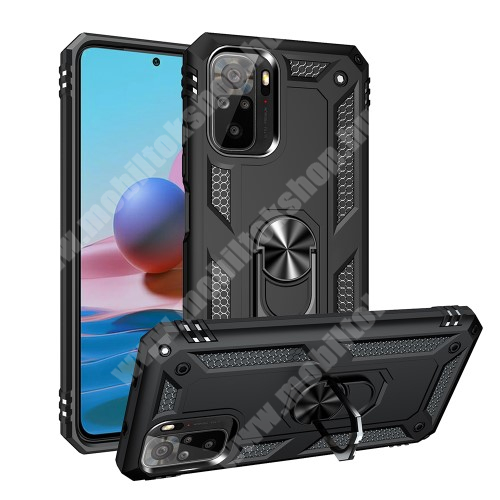 OTT! HYBRID ARMOR műanyag védő tok / hátlap - FEKETE - szilikon betétes, kitámasztható, fém ujjgyűrűvel, tapadófelület mágneses autós tartóhoz - ERŐS VÉDELEM! - Xiaomi Redmi Note 10 / Redmi Note 10S