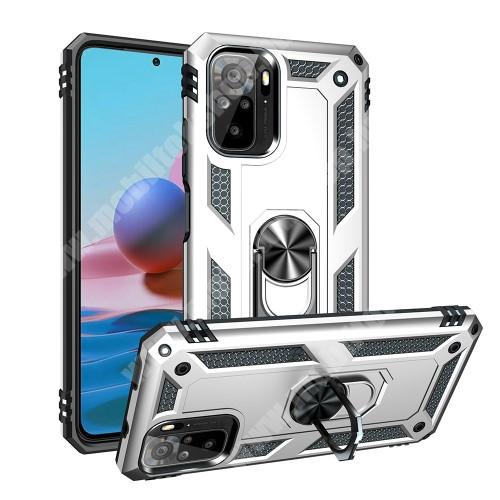 OTT! HYBRID ARMOR műanyag védő tok / hátlap - EZÜST - szilikon betétes, kitámasztható, fém ujjgyűrűvel, tapadófelület mágneses autós tartóhoz - ERŐS VÉDELEM! - Xiaomi Redmi Note 10 / Redmi Note 10S