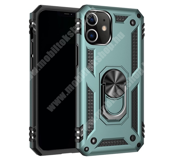 OTT! HYBRID ARMOR műanyag védő tok / hátlap - ZÖLD - szilikon betétes, kitámasztható, fém ujjgyűrűvel, tapadófelület mágneses autós tartóhoz - ERŐS VÉDELEM! - APPLE iPhone 12 / APPLE iPhone 12 Pro