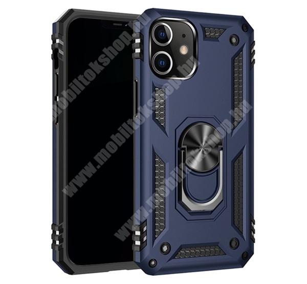 OTT! HYBRID ARMOR műanyag védő tok / hátlap - SÖTÉTKÉK - szilikon betétes, kitámasztható, fém ujjgyűrűvel, tapadófelület mágneses autós tartóhoz - ERŐS VÉDELEM! - APPLE iPhone 12 / APPLE iPhone 12 Pro