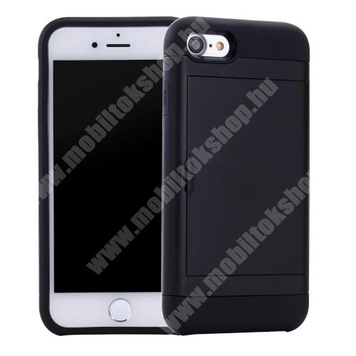 OTT! HYBRID SLIDE CARD műanyag védő tok / hátlap - FEKETE - szilikon belső, bankkártya tartó - ERŐS VÉDELEM! - APPLE iPhone SE (2020) / APPLE iPhone 7 / APPLE iPhone 8