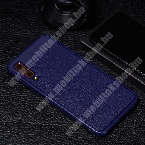 OTT! LEATHER PRO SERIES szilikon védő tok / bőrhatású hátlap - KÉK - 360 FOKOS ERŐS VÉDELEM! - SAMSUNG SM-A750F Galaxy A7 (2018)
