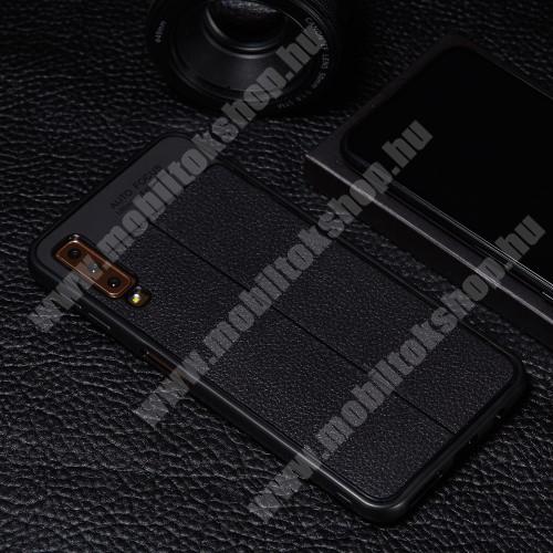 OTT! LEATHER PRO SERIES szilikon védő tok / bőrhatású hátlap - FEKETE  - 360 FOKOS ERŐS VÉDELEM! - SAMSUNG SM-A750F Galaxy A7 (2018)