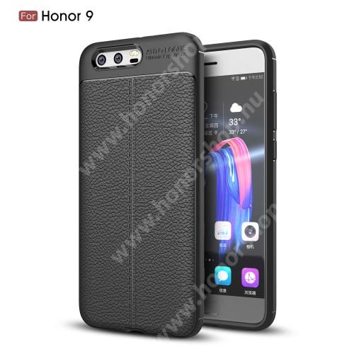 HUAWEI Honor 9 OTT! LEATHER SERIES szilikon védő tok / bőrhatású hátlap - FEKETE - ERŐS VÉDELEM! - HUAWEI Honor 9 / HUAWEI Honor 9 Premium