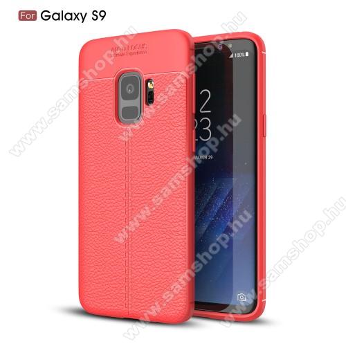 OTT! LEATHER SERIES szilikon védő tok / bőrhatású hátlap - PIROS - ERŐS VÉDELEM! - SAMSUNG SM-G960 Galaxy S9