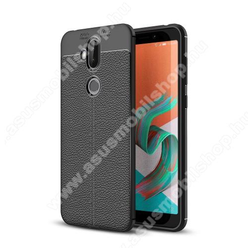 OTT! LEATHER SERIES szilikon védő tok / bőrhatású hátlap - FEKETE - ERŐS VÉDELEM! - ASUS Zenfone 5 Lite (ZC600KL) (2018)