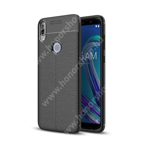 OTT! LEATHER SERIES szilikon védő tok / bőrhatású hátlap - FEKETE - ERŐS VÉDELEM! - ASUS Zenfone Max Pro (M1) (ZB601KL) / ASUS Zenfone Max Pro (M1) (ZB602KL)