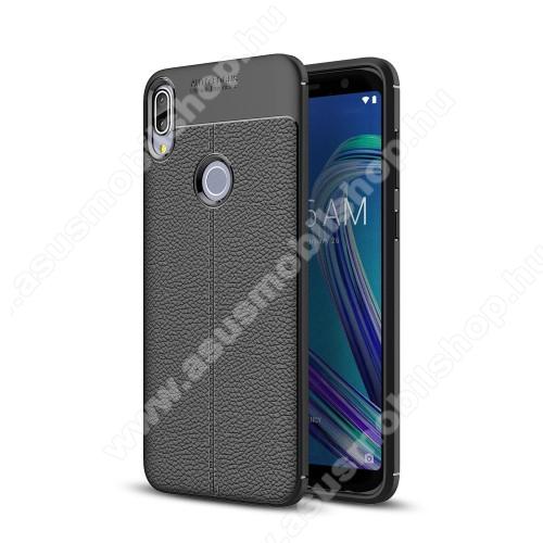 ASUS Zenfone Max Pro (M1) (ZB602KL)OTT! LEATHER SERIES szilikon védő tok / bőrhatású hátlap - FEKETE - ERŐS VÉDELEM! - ASUS Zenfone Max Pro (M1) (ZB601KL) / ASUS Zenfone Max Pro (M1) (ZB602KL)