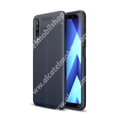 OTT! LEATHER SERIES szilikon védő tok / bőrhatású hátlap - SÖTÉTKÉK - ERŐS VÉDELEM! - SAMSUNG SM-A750F Galaxy A7 (2018)