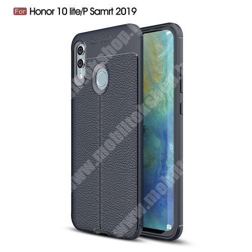 OTT! LEATHER SERIES szilikon védő tok / bőrhatású hátlap - SÖTÉTKÉK - ERŐS VÉDELEM! - HUAWEI P Smart (2019) / HUAWEI Honor 10 Lite
