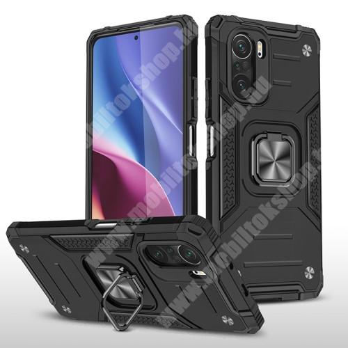 OTT! MAX ARMOR műanyag védő tok / hátlap - FEKETE - szilikon betétes, kitámasztható, fém ujjgyűrűvel, tapadófelület mágneses autós tartóhoz - ERŐS VÉDELEM! - Xiaomi Redmi K40 / Redmi K40 Pro / Redmi K40 Pro Plus / Mi 11i / Poco F3