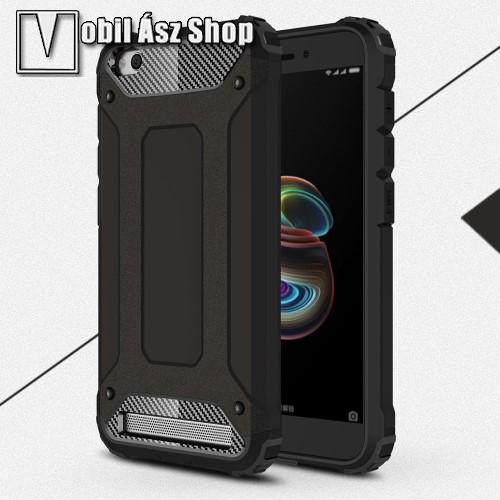 OTT! MAX DEFENDER műanyag védő tok / hátlap - FEKETE - szilikon belső, ERŐS VÉDELEM! - Xiaomi Redmi 5A