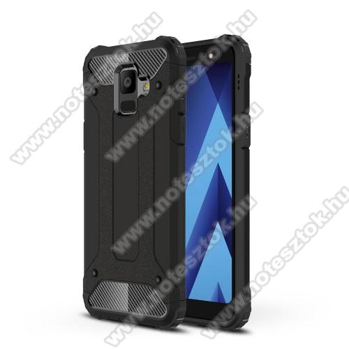 OTT! MAX DEFENDER műanyag védő tok / hátlap - FEKETE - szilikon belső, ERŐS VÉDELEM! - SAMSUNG SM-A600F Galaxy A6 (2018)