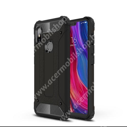 OTT! MAX DEFENDER műanyag védő tok / hátlap - FEKETE - szilikon belső, ERŐS VÉDELEM! - Xiaomi Redmi Note 6 Pro