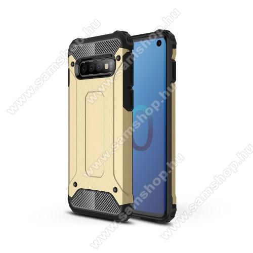 OTT! MAX DEFENDER műanyag védő tok / hátlap - ARANY - szilikon belső, ERŐS VÉDELEM! - SAMSUNG SM-G973F Galaxy S10