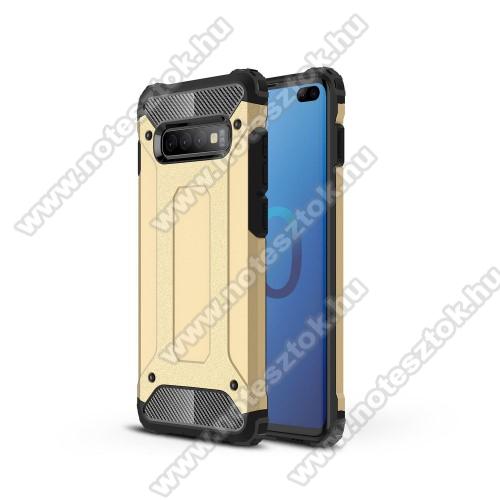 OTT! MAX DEFENDER műanyag védő tok / hátlap - ARANY - szilikon belső, ERŐS VÉDELEM! - SAMSUNG SM-G975F Galaxy S10+
