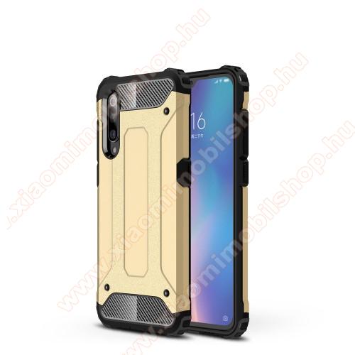 OTT! MAX DEFENDER műanyag védő tok / hátlap - ARANY - szilikon belső, ERŐS VÉDELEM! - Xiaomi Mi 9 / Xiaomi Mi 9 Explorer