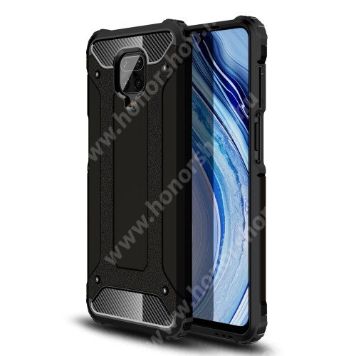 OTT! MAX DEFENDER műanyag védő tok / hátlap - FEKETE - szilikon belső, ERŐS VÉDELEM! - Xiaomi Redmi Note 9S / Redmi Note 9 Pro / Redmi Note 9 Pro Max / Poco M2 Pro