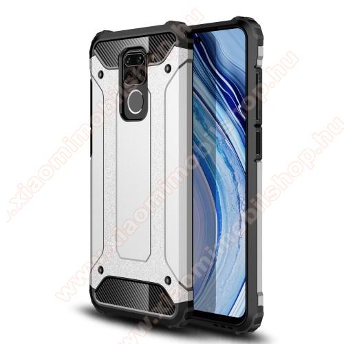 OTT! MAX DEFENDER műanyag védő tok / hátlap - EZÜST - szilikon belső, ERŐS VÉDELEM! - Xiaomi Redmi Note 9 / Xiaomi Redmi 10X 4G