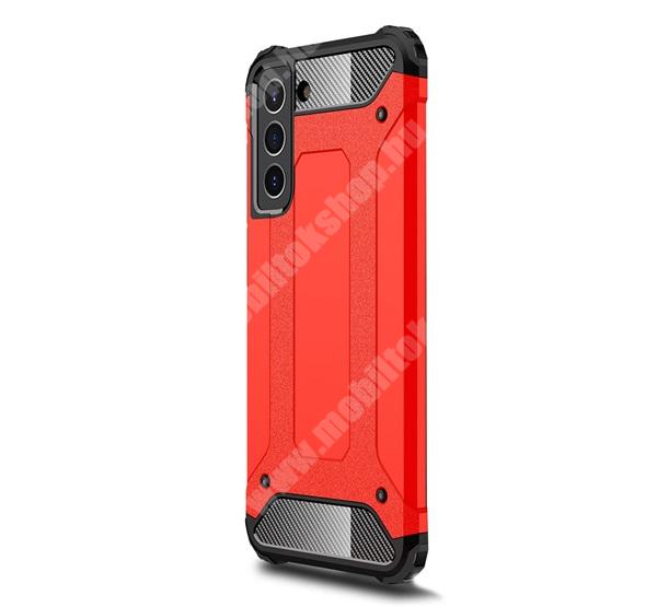 OTT! MAX DEFENDER műanyag védő tok / hátlap - PIROS - szilikon belső, ERŐS VÉDELEM! - SAMSUNG Galaxy S21 FE (SM-G990B, SM-G990B/DS)