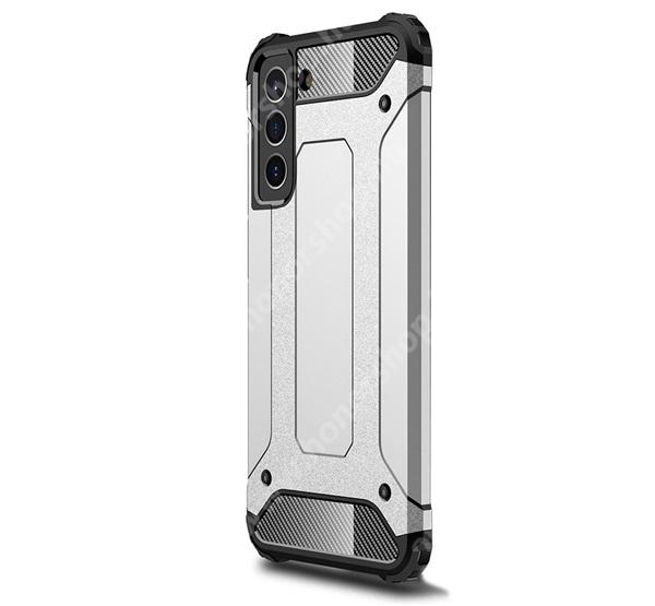 OTT! MAX DEFENDER műanyag védő tok / hátlap - EZÜST - szilikon belső, ERŐS VÉDELEM! - SAMSUNG Galaxy S21 FE (SM-G990B, SM-G990B/DS)