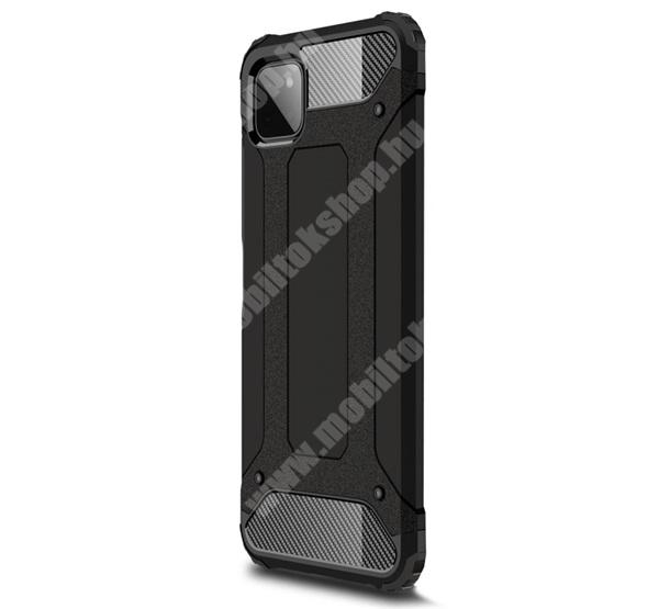 OTT! MAX DEFENDER műanyag védő tok / hátlap - FEKETE - szilikon belső, ERŐS VÉDELEM! - SAMSUNG Galaxy A22 5G (SM-A226)
