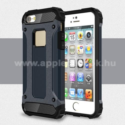 APPLE IPhone 5SOTT! MAX DEFENDER műanyag védő tok / hátlap - SÖTÉTKÉK - szilikon belső, ERŐS VÉDELEM! - APPLE IPHONE 5 / IPHONE 5S / IPHONE SE