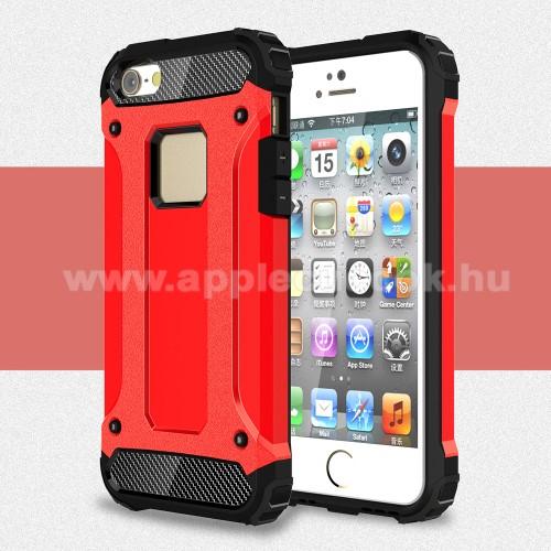 APPLE IPhone 5SOTT! MAX DEFENDER műanyag védő tok / hátlap - PIROS - szilikon belső, ERŐS VÉDELEM! - APPLE IPHONE 5 / IPHONE 5S / IPHONE SE