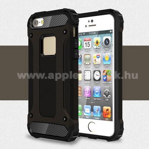 APPLE IPhone 5SOTT! MAX DEFENDER műanyag védő tok / hátlap - FEKETE - szilikon belső, ERŐS VÉDELEM! - APPLE IPHONE 5 / IPHONE 5S / IPHONE SE