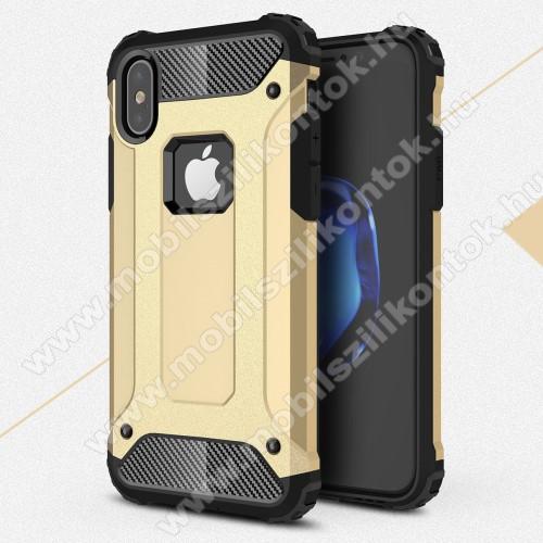 OTT! MAX DEFENDER műanyag védő tok / hátlap - ARANY - szilikon belső, ERŐS VÉDELEM! - APPLE iPhone X / APPLE iPhone XS