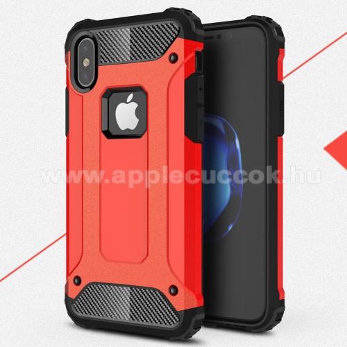 OTT! MAX DEFENDER műanyag védő tok / hátlap - PIROS - szilikon belső, ERŐS VÉDELEM! - APPLE iPhone X / APPLE iPhone XS