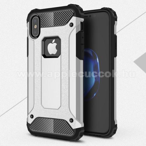 OTT! MAX DEFENDER műanyag védő tok / hátlap - EZÜST - szilikon belső, ERŐS VÉDELEM! - APPLE iPhone X / APPLE iPhone XS