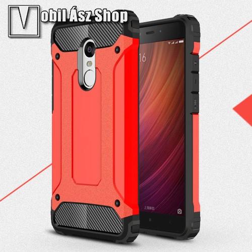 OTT! MAX DEFENDER műanyag védő tok / hátlap - PIROS - szilikon belső, ERŐS VÉDELEM! - Xiaomi Redmi Note 4
