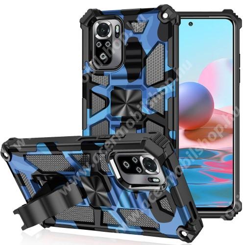OTT! MAX DEFENDER PRO műanyag védő tok / hátlap - KÉK - szilikon betétes, asztali tartó funkciós, tapadófelület mágneses autós tartóhoz, ERŐS VÉDELEM! - Xiaomi Redmi Note 10 / Redmi Note 10S