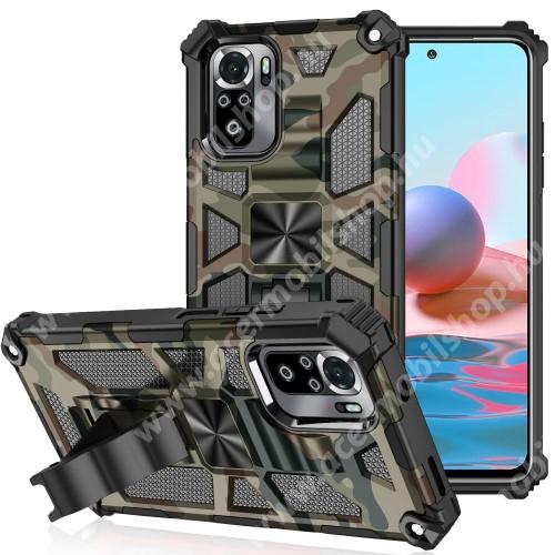 OTT! MAX DEFENDER PRO műanyag védő tok / hátlap - TEREPMINTÁS - szilikon betétes, asztali tartó funkciós, tapadófelület mágneses autós tartóhoz, ERŐS VÉDELEM! - Xiaomi Redmi Note 10 / Redmi Note 10S