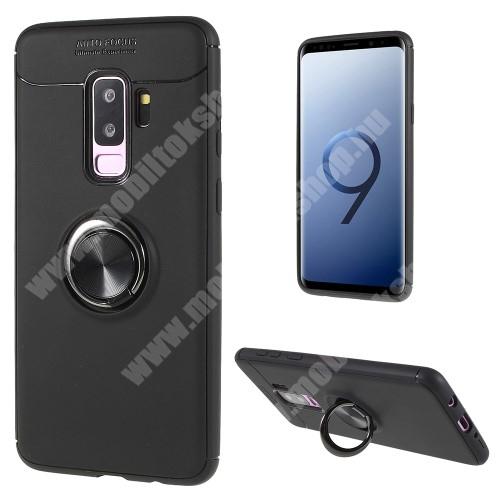 OTT! METAL RING szilikon védõ tok / hátlap - FEKETE - fém ujjgyûrû, tapadófelület mágneses autós tartóhoz, ERÕS VÉDELEM! - SAMSUNG SM-G965 Galaxy S9+