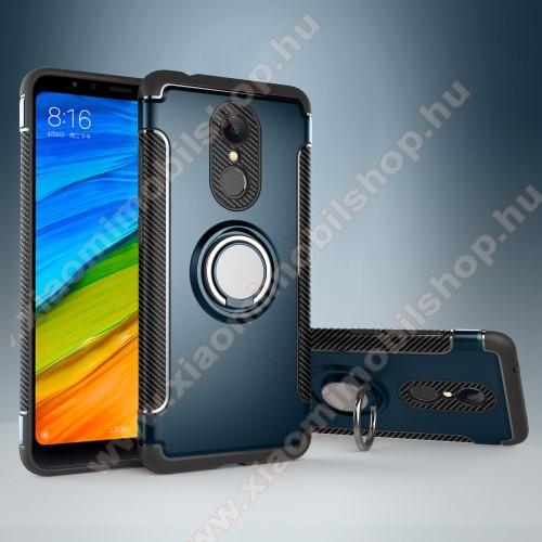 OTT! METAL RING szilikon védõ tok / hátlap - VILÁGOSKÉK - fém ujjgyûrû, tapadófelület mágneses autós tartóhoz, szilikon betétes, kitámasztható, karbon minta - ERÕS VÉDELEM! - Xiaomi Redmi 5