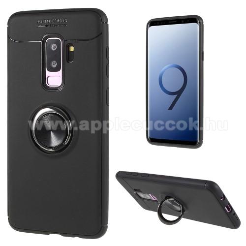OTT! METAL RING szilikon v�d? tok / h�tlap - FEKETE - f�m ujjgy?r?, tapad�fel�let m�gneses aut�s tart�hoz, ER?S V�DELEM! - SAMSUNG SM-G965 Galaxy S9+