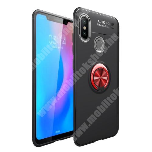 OTT! METAL RING szilikon védõ tok / hátlap - FEKETE / PIROS - fém ujjgyûrû, tapadófelület mágneses autós tartóhoz, ERÕS VÉDELEM! - Xiaomi Mi 6X / Xiaomi Mi A2