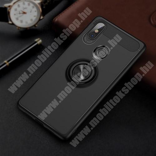 OTT! METAL RING szilikon védő tok / hátlap - FEKETE - fém ujjgyűrű, tapadófelület mágneses autós tartóhoz, ERŐS VÉDELEM! - Xiaomi Mi 8 SE