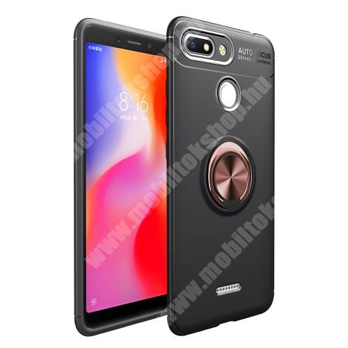 OTT! METAL RING szilikon védő tok / hátlap - FEKETE / ROSE GOLD - fém ujjgyűrű, tapadófelület mágneses autós tartóhoz, ERŐS VÉDELEM! - Xiaomi Redmi 6