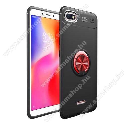 OTT! METAL RING szilikon védő tok / hátlap - FEKETE / PIROS - fém ujjgyűrű, tapadófelület mágneses autós tartóhoz, ERŐS VÉDELEM! - Xiaomi Redmi 6A