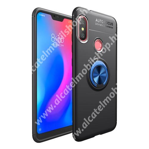OTT! METAL RING szilikon védő tok / hátlap - FEKETE / KÉK - fém ujjgyűrű, tapadófelület mágneses autós tartóhoz, ERŐS VÉDELEM! - Xiaomi Redmi 6 Pro / Xiaomi Mi A2 Lite