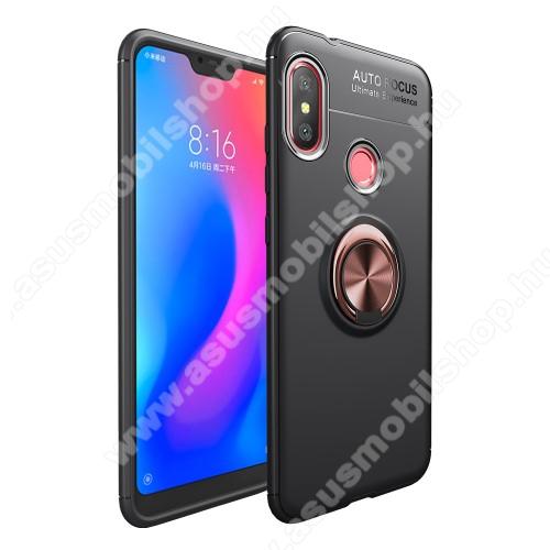 OTT! METAL RING szilikon védő tok / hátlap - FEKETE / ROSE GOLD - fém ujjgyűrű, tapadófelület mágneses autós tartóhoz, ERŐS VÉDELEM! - Xiaomi Redmi 6 Pro / Xiaomi Mi A2 Lite