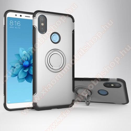 OTT! METAL RING szilikon védő tok / hátlap - EZÜST - fém ujjgyűrű, tapadófelület mágneses autós tartóhoz, szilikon betétes, kitámasztható, karbon minta - ERŐS VÉDELEM! - Xiaomi Mi 6X / Xiaomi Mi A2