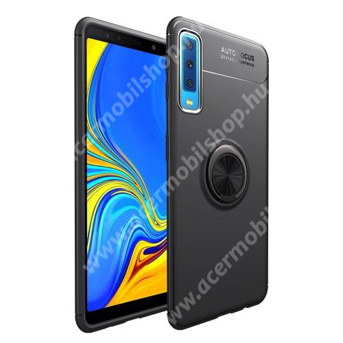 OTT! METAL RING szilikon védő tok / hátlap - FEKETE - fém ujjgyűrű, tapadófelület mágneses autós tartóhoz, ERŐS VÉDELEM! - SAMSUNG SM-A750F Galaxy A7 (2018)