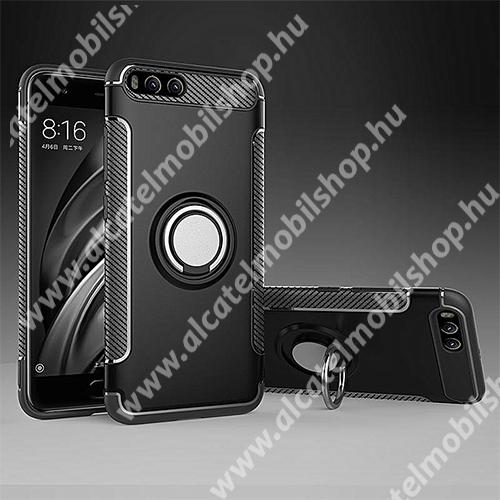 OTT! METAL RING szilikon védő tok / hátlap - FEKETE - fém ujjgyűrű, tapadófelület mágneses autós tartóhoz, szilikon betétes, kitámasztható, karbon minta - ERŐS VÉDELEM! - Xiaomi Mi 6